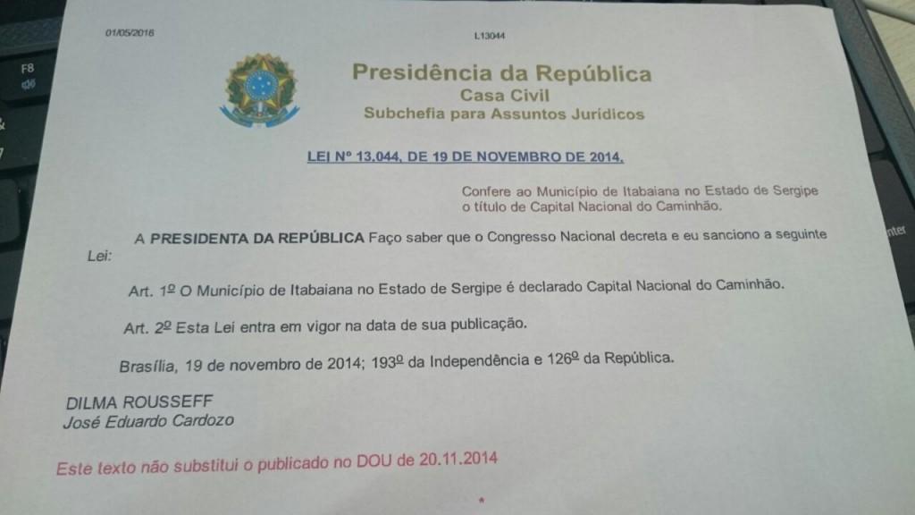 """Cópia da Lei que fez de Itabaiana a """"Capital do Caminhão"""""""
