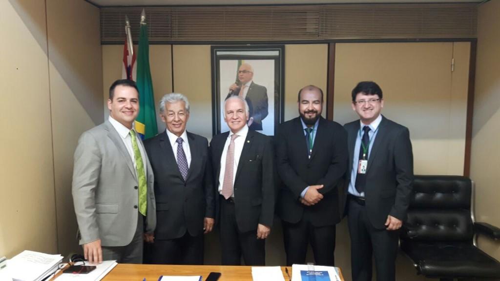 Gilberto Jr., o presidente China, Dep. Gilberto Nascimento, o presidente Fábio Luis e o assessor Márcio Pontes (Foto: Divulgação)