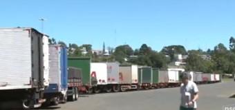 Greve dos auditores fiscais causa filas de caminhões no Oeste de SC