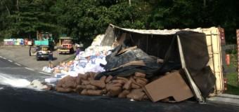 Batida entre caminhões seguida de tombamento congestiona Dutra, em Piraí
