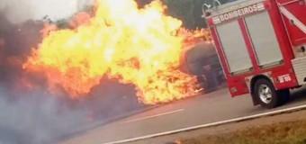 Caminhões incendiados na BR-060 e BR-153