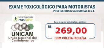 Unicam oferece Exame Toxicológico ao caminhoneiro em condições especiais