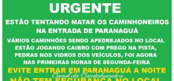 Caminhoneiros estão evitando entrar em Paranaguá à noite