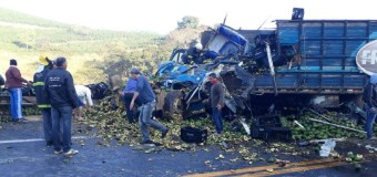 Batida entre caminhões deixa dois mortos na BR-116, no interior de Minas