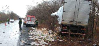 Acidente entre caminhões deixa uma pessoa morta no Norte de Minas