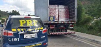PRF apreende caminhão carregado com cerveja com documentação fiscal irregular