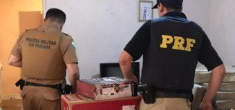 PRF e PM estouram depósito e recuperam carga roubada